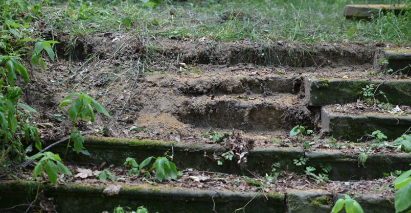 Po schodach – kto ukradł piaskowiec z parku?